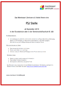 FSJ Stelle in der Montessori Schule ab September 2019