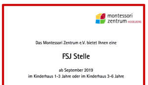 FSJ Stelle im Montessori Kinderhaus ab September 2019